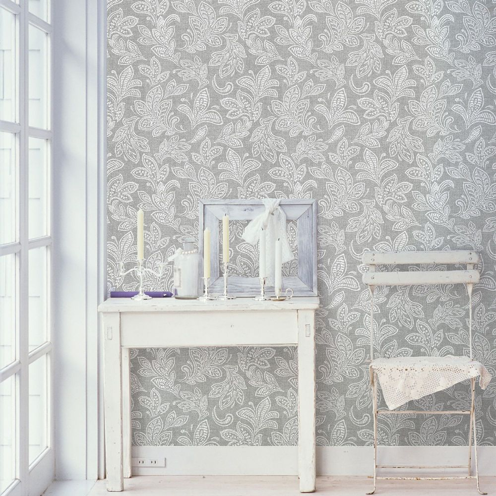 Crown Calico Leaf Soft Grey M1119 Wallpaper